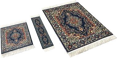 Set of Rug Mouse Pad + Coaster + Bookmark - Oriental Style Carpet Mousemat Miniature Rug (Dark Blue)