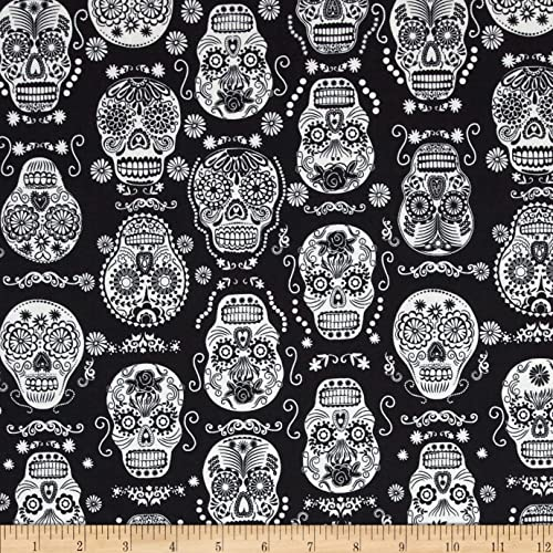 c57f6a70c38 Timeless Treasures 0397881 Glow in The Dark Skulls Black Fabric by The Yard