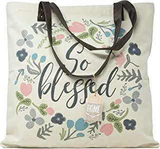 Decorative Expressions - 18x18 Canvas Reusable Tote Bag - Floral - So Blessed