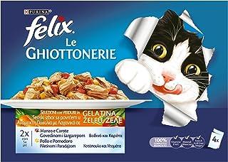 Purina Felix Le Ghiottonerie - Guilloterias húmedas para Gatos con Carne y Zanahorias y Pollo y Tomate, 40 Sobres de 100 g...