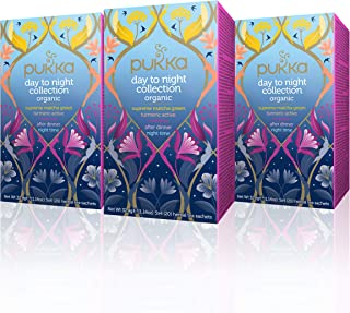 Pukka Herbs Day to Night Collection, Selection of Five Organic Herbal Teas (3 Pack, 60 Tea Bags)