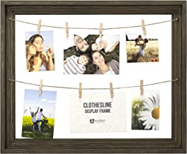 Malden International Designs Wall Sentiments Rustic Clothes Line Display Picture Frame, 8 Option, Brown