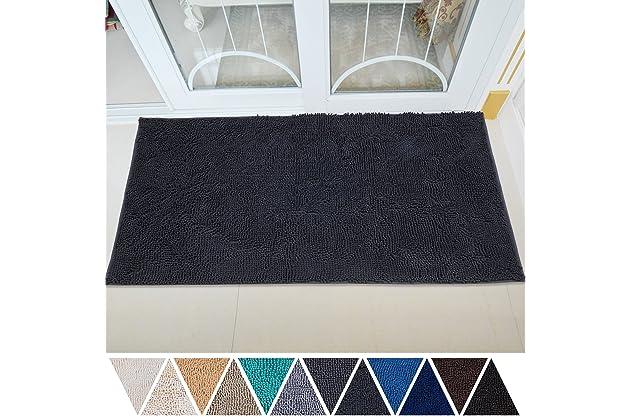 DEARTOWN 31x59 Inch Absorbent Chenille Microfiber Dog Door Mat   Absorbent, Quick Dry, Anti-Skid TPR Bottom (31x59 Inches, Dark Gray)