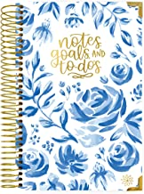 "bloom daily planners New UNDATED Hardcover Calendar & Daily Bound to-Do List Book - Notes, Goals, to Do's Planning System - 8.25"" x 6.5"" - Blue & White Floral"