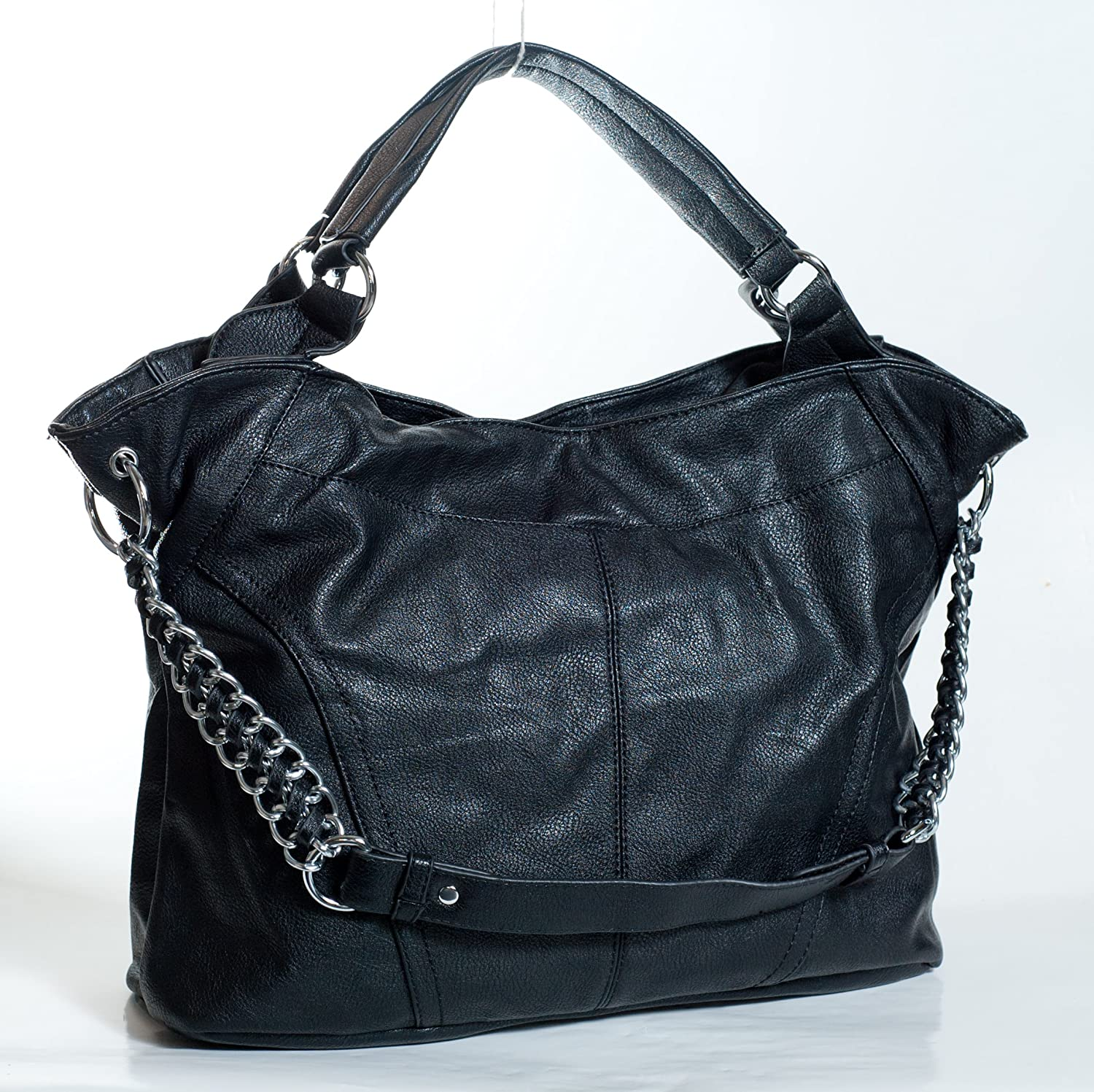 Designer Inspired Chain Faux Leather Cute Large Tote Handbag Satchel in Solid Black