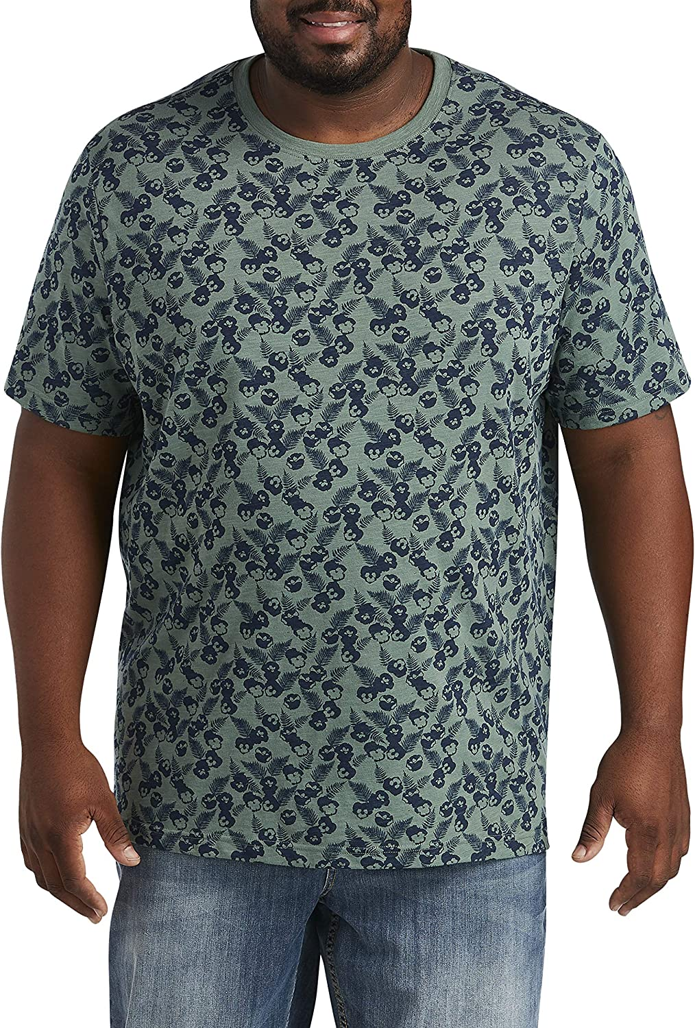 Harbor Bay by DXL Big and Tall Floral Leaf Print Tee, Green Multi