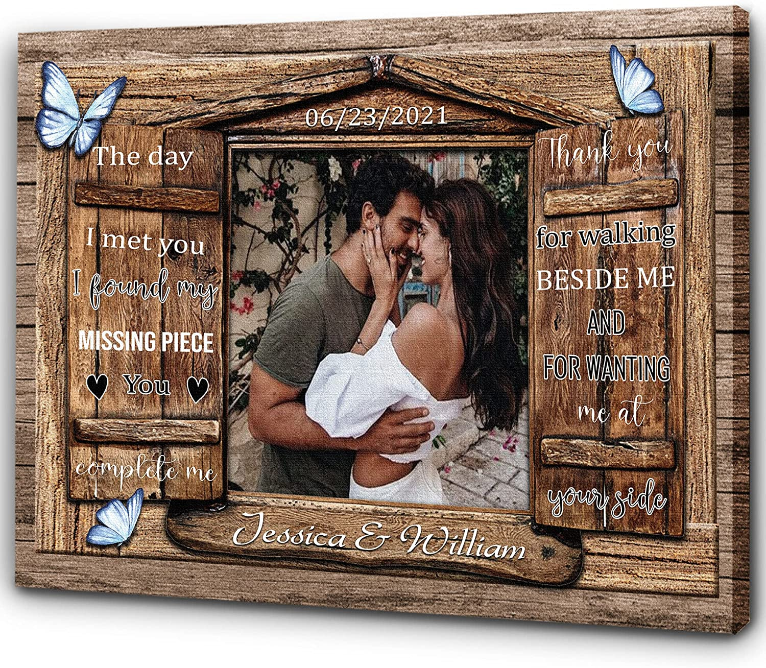 Personalized Canvas Year-end gift Couple Photo Reservation Gift W Romantic Wedding