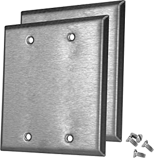 Pack of 2 Wall Plate Outlet Switch Covers by SleekLighting | Decorative Stainless Steel Look | Variety of Styles: Decorator/Duplex/Toggle/Blank / & Combo | Size: 2 Gang Blank