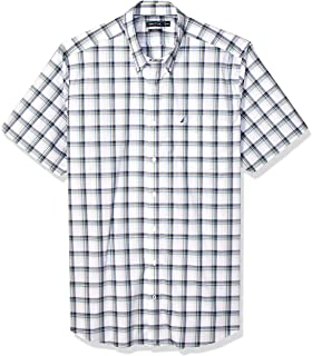 16d4686f45401e Nautica Men's Big and Tall Short Sleeve Wrinkle Resistant Lux Plaid Button  Down Shirt