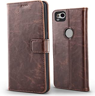 Belk Google Pixel 2 Case, Retro Vintage Leather Hybrid Wallet Case With Slim Soft TPU Shockproof Back, Classic Folio Flip Stand Cover With 3 X Card Slots Holder For Google Pixel 2, Matte Brown