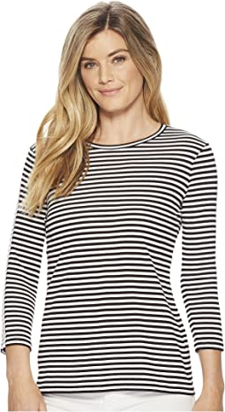 3/4 Lace Striped Top