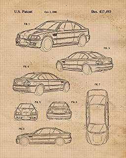 Original BMW Collection Patent Poster Prints, Set of 4 (8x10) Unframed Photos, Wall Art Decor Gifts Under 20 for Home, Office, Garage, Man Cave, College Student, Teacher, Germany Cars & Coffee Fan