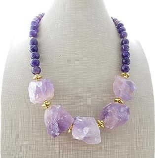 Collana con ametista viola sfaccettata, girocollo con pietre dure, gioielli fatti a mano, bijoux contemporanei, creazioni ...