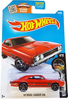 Hot Wheels 2016 Night Burnerz '69 Dodge Charger 500 84/250, Red