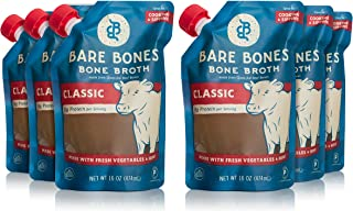 Bare Bones Beef Bone Broth – 100% Grass Fed Beef Bone Broth with Protein and Collagen, Ancient Natural Source of Nutrition, Ketogenic Diet Friendly, Whole30 Approved, Certified Paleo, 16 Oz, Pack of 6