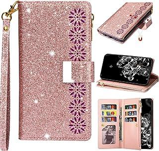 جراب محفظة جلدية من EnjoyCase لهاتف iPhone 8 Plus/7 Plus 5. 5 بوصات، 9 فتحات للبطاقات تصميم نقش بالليزر لزهور سحاب لامع ول...