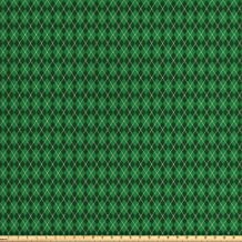 Ambesonne Irish Fabric by The Yard, St. Patrick's Day Celebration Inspired Vintage Pattern Argyle Tartan Dots, Decorative Fabric for Upholstery and Home Accents, 1 Yard, Green White