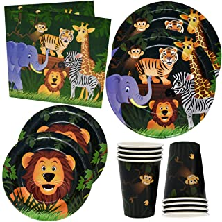 """Zoo Jungle Animal Party Plates and Napkins for Safari Birthday Supplies Theme Includes 24 9"""" Plates 24 7"""" Plate 24 9 Oz Cups and 50 Luncheon Napkins Tropical Themed Decorations for Kids Animals Baby Shower"""