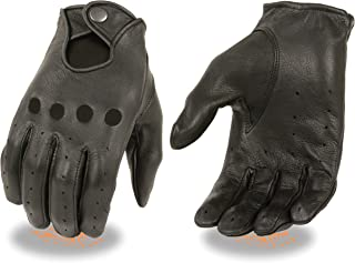 Men's Professional Style Snap Wrist Leather Driving Gloves (X-Large)