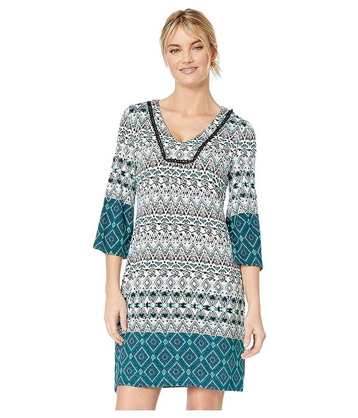 Tribal 3/4 Bell Sleeve Border Printed Jersey Dress (Atlantic) Women