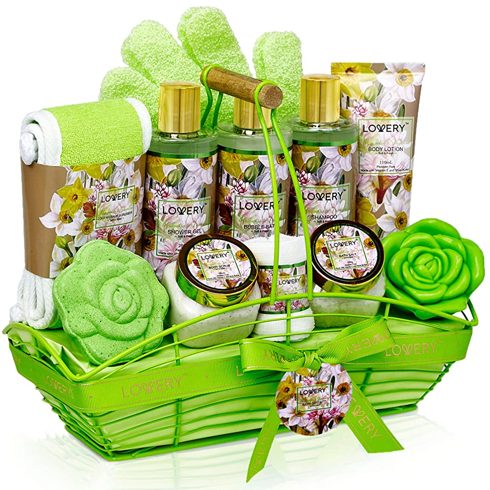 Bath and Body Gift Basket For Women & Men – Magnolia and Jasmine Home Spa Set, Includes Fragrant Lotions, Bath Bomb, Towel, Shower Gloves, Green Wired Bread Basket and More - 13 Piece Set