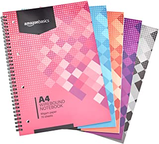 AmazonBasics Lot de 5cahiers à spirales 140pages 90g/m² Couleurs assorties Format A4