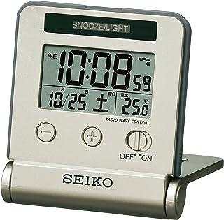 セイコー クロック 目覚まし時計 トラベラ 電波 デジタル 自動点灯 カレンダー 温度 表示 薄金色 SQ772G SEIKO