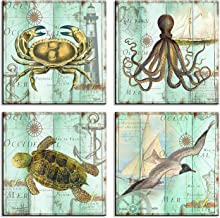 Teal Home Wall Art Decor - Ocean Theme Mediterranean Style Canvas Prints Framed and Stretched Ready to Hang Sea Animal Octopus Turtle Seabirds Crabs Pictures Posters Bathroom - 12 x 12 Panel Set of 4