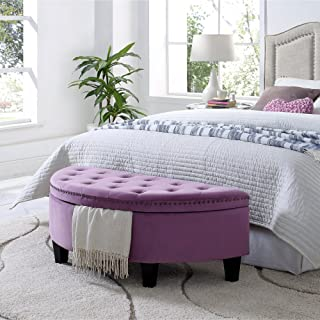 Inspired Home Jolie Mauve Velvet Storage Ottoman - Half Moon | Upholstered | Button Tufted | Nailhead | Bedroom