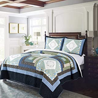"KASENTEX Luxurious Soft Royal Blue Floral – Coastal Embroidery Cotton Quilt – Machine Washable, Full/Queen 90x96"", Coastal Blue"