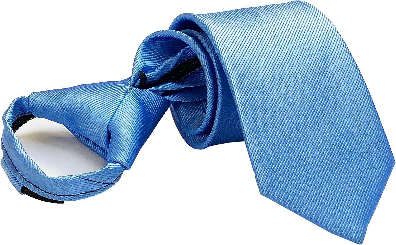 Secdtie Mens Boys Skinny Zipper Tie Wedding Solid Color Easier Designer Neckties