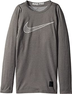 e18f9315 Carbon Heather/White. 49. Nike Kids. Pro Fitted Long Sleeve Training Top  (Little Kids/Big ...