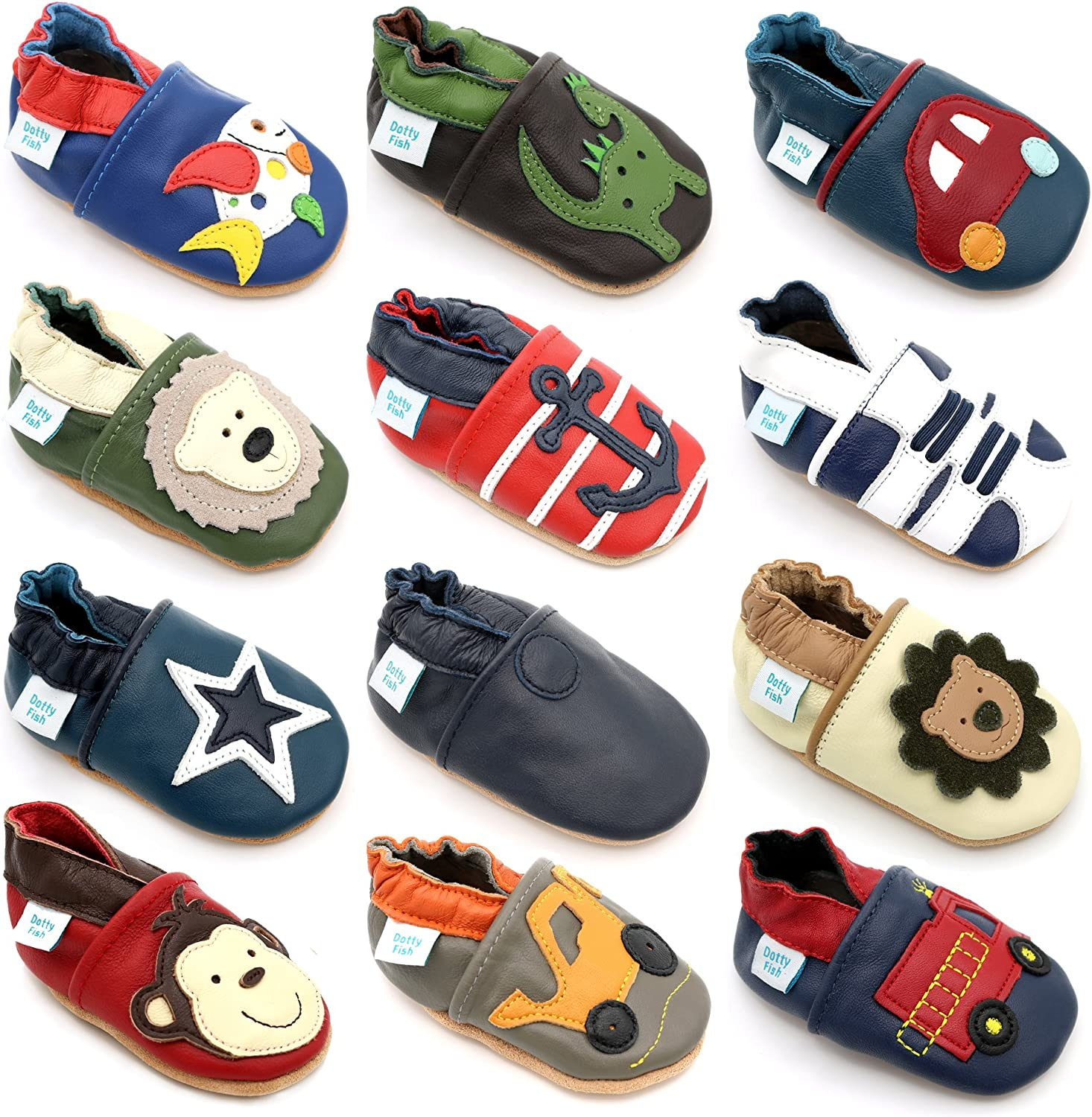 Dotty Fish Soft Sole Leather Infant Shoes Boys pre-Walkers