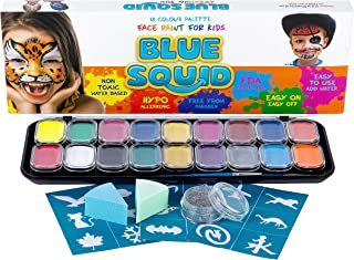 Blue Squid Face Paint for Kids - 18 Large 10ml Washable Colors, 18 Stencils, Safe Facepainting for Sensitive Skin, Brushes, Sponges & Glitter - Best Quality Vibrant Water Based Non Toxic FDA Approved