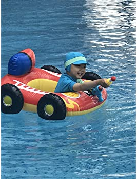 Big Summer Inflatable Fire Boat Pool Float for Kids with Built-in Squirt Gun, Inflatable Ride-on for Children Aged 3-...