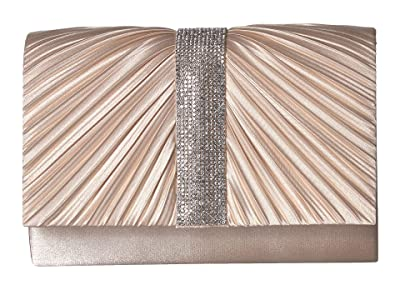 Jessica McClintock Alexis Pleated Clutch (Champagne) Handbags