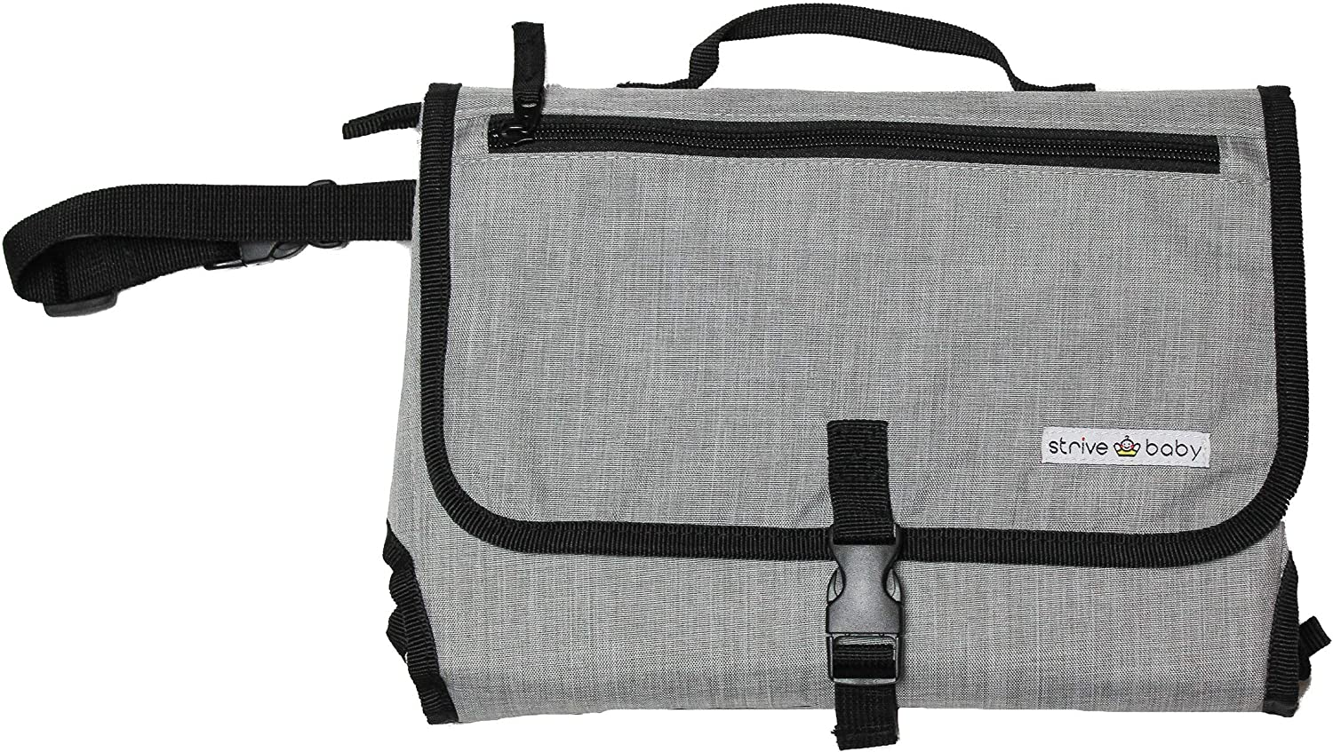 Portable Baby Changing Mat by Strive Baby - Handy Travel Diaper Changing Bag with Built in Cushion Head Pillow, Waterproof Mat and Detachable Mesh Pouch that can hold Diapers, Wipes, and Creams