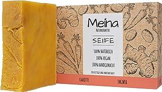 Meina Naturkosmetik - Seife mit Karotte und Ingwer 1 x 100 g Palmölfrei, Natürlich, Vegan, Handgemacht, Bio Naturseife - Körperpflege und Gesichtspflege