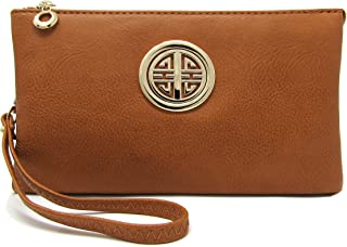Solene Womens and Girls Multi Compartment Functional Emblem Crossbody Bag With Detachable Wristlet