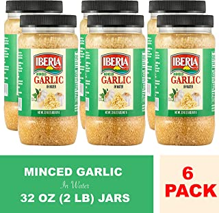 Iberia Minced Garlic in Water (Pack of 6) 32 oz, 2 lb., Convenient Minced Garlic in Jar, Ready to Use Minced Garlic In Water, Bold Flavor as Fresh Garlic, 1/2 tsp equals to 1 Garlic Clove