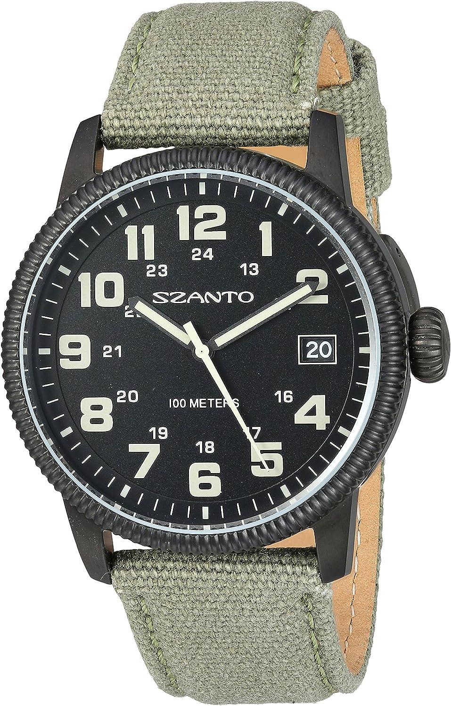 Szanto Men's SZ 1101 1100 Series Vintage-Inspired Military Field Watch