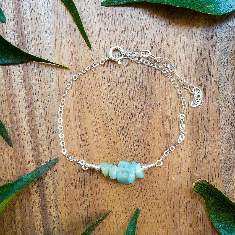 Amazonite Bead Bar Seasonal Wrap Introduction Bracelet in 925 35% OFF Sterling - Gem Silver Genuine