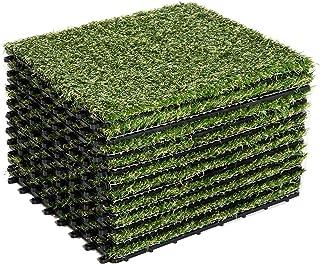 Outsunny Césped Artificial Tipo Alfombra o Estera de Hierba Sintética de Exterior para Jardín y Terraza 25mm 10 Piezas