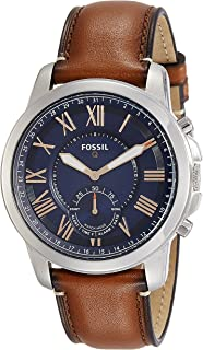 Fossil Men's FTW1122 Q Grant Gen 2 Hybrid Smartwatch Light Brown Leather