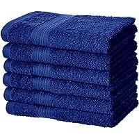 6-Pack AmazonBasics Fade-Resistant Cotton Hand Towel (Navy Blue)