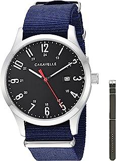 Caravelle Designed by Bulova Men's Stainless Steel Quartz Watch with Nylon Strap, Blue, 20 (Model: 43B160)