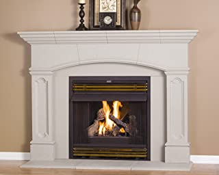 Abington Thin Cast Stone Adjustable Fireplace Mantel Kit - Complete Kit includes Hearth and Adjustable Interior Filler Panels