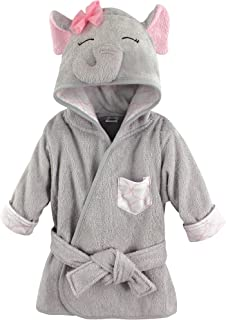 Hudson Baby Animal Face Hooded Bathrobe, Pretty Elephant, 0-9 Months