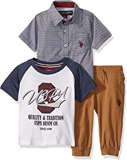 Baby Boy's Short Sleeve Printed Woven Shirt, T-Shirt, and...