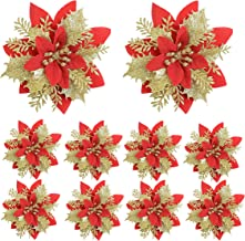HL1971 10 Pieces of 5.5 inches Christmas Glitter Poinsettia Rayon Flower Picking Christmas Tree Ornaments, Christmas Tree ...